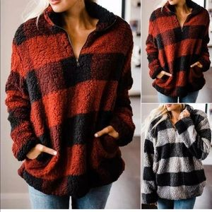 Tops - Fluffy zip neck sweatshirt